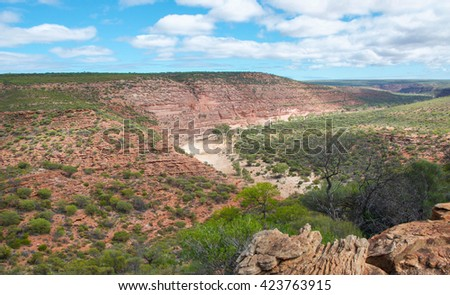 Scenery at Kalbarri National Park with natural sandstone, plants and scenic gorge views in Western Australia/Kalbarri Gorge/Kalbarri National Park, Western Australia