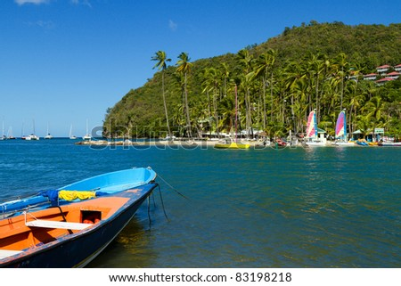 Scenery at Marigot Bay in St Lucia - stock photo