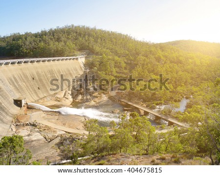 Scenery behind Wellington Dam Hydro Power Station in Western Australia in evening - stock photo