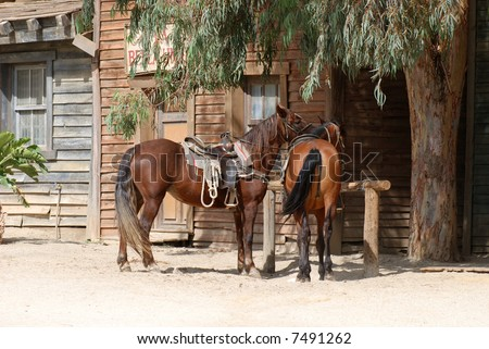 Scenery in a traditional American western town - stock photo