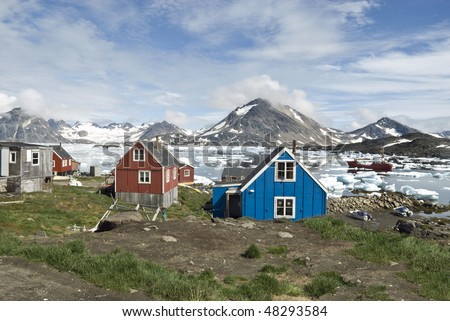 Scenery in Greenland with Iceburg - stock photo