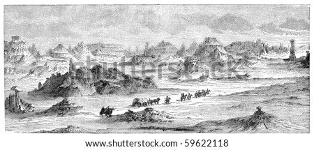 "Scenery in southern parts of Utah, USA. Illustration originally published in Hesse-Wartegg's ""Nord Amerika"", swedish edition published in 1880. The image is currently in public domain. - stock photo"