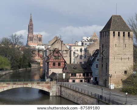 scenery in Strasbourg in rainy ambiance (Alsace/France) - stock photo