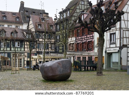 scenery in Strasbourg with pictorial timbered houses (Alsace/France) - stock photo