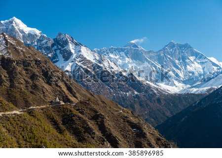 Scenery in the Himalayas on the way to Everest Base Camp, In Nepal, with Mount Everest in the background - stock photo