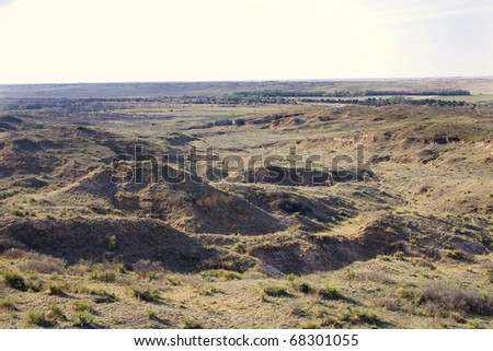 scenery just before sunset in northwest Oklahoma - stock photo