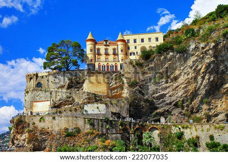 scenery of Amalfi coast - view with a castle. Maiori, Italy - stock photo