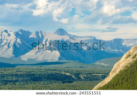 Scenery of high mountain peaks. - stock photo