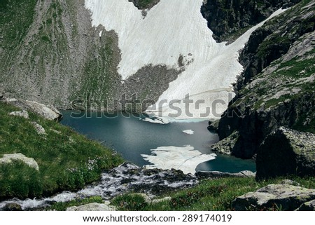 Scenery of high mountain with lake and high peak on a clear day - stock photo