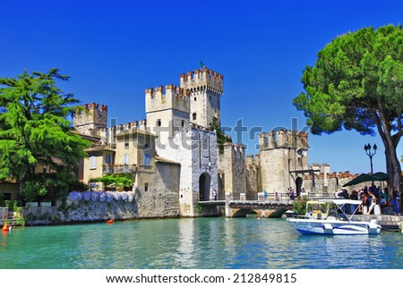 scenery of Italy series - Sirmione. Lago di Garda - stock photo
