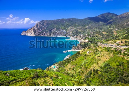 scenery of Ligurian coast- view of Monterosso al mare, Cinque te - stock photo