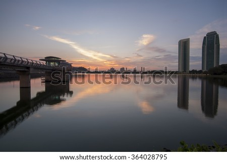 Scenery of main dam in Putrajaya with sunset background