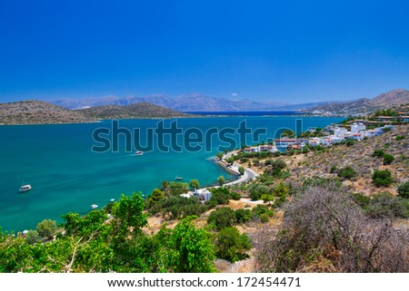 Scenery of Mirabello Bay on Crete, Greece