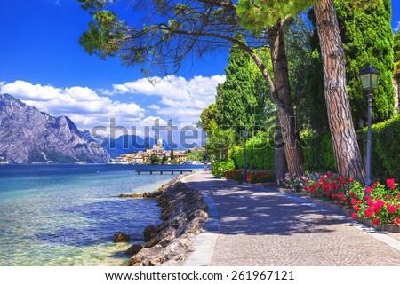 scenery of northen Itlay - Malcesine,  Lago di garda - stock photo