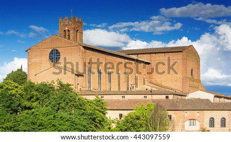 Scenery of Siena, a beautiful medieval town in Tuscany, with view of the Basilica of San Domenico    - stock photo