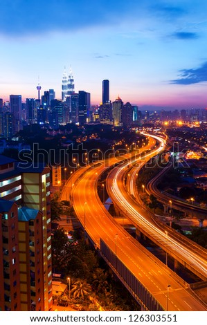 Scenery of sunset and busy highway at Kuala Lumpur, Malaysia, Asia - stock photo