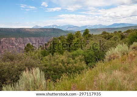 Scenery of the Black Canyon of the Gunnison National Park in Colorado. - stock photo