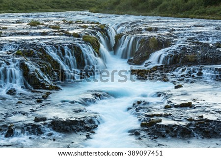Scenery of the Bruarfoss waterfall in Iceland