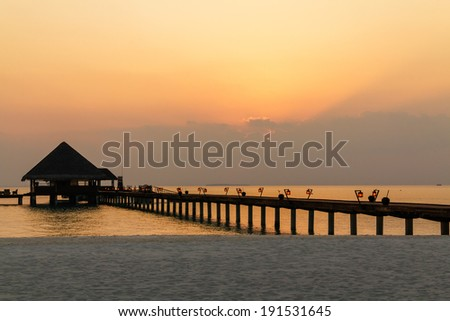 Scenery of the calm dusk with a long bridge, Maldives