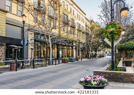 Scenery of the shopping district in San Jose, California - stock photo