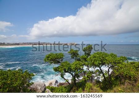 scenery on the Bondi Beach to Bronte Walk, Sydney, Australia  - stock photo