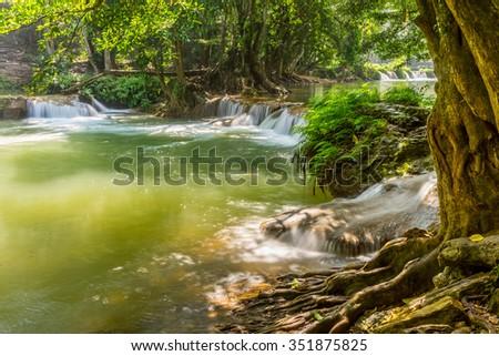 Scenery view of the second tier of Namtok Chet Sao Noi waterfall. It is small waterfall in Saraburi province, Thailand. - stock photo