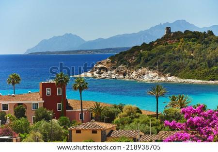 Scenery view on Italian island Sardinia sea shore beach resort in Arbatax - stock photo