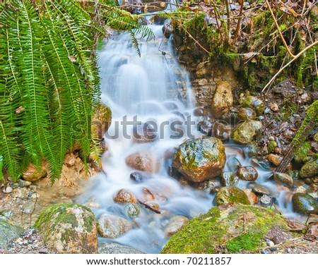 Scenery waterfall at Riverside Road Park. North Vancouver, British Columbia, Canada. - stock photo