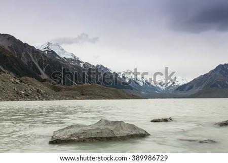 Scenery with Mount Cook, view from Murchison lake, Aoraki, Mount Cook Mackenzie Region, South Island, New Zealand - stock photo