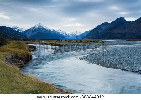 Scenery with Mount Cook, view from Tasman River valley, Aoraki, Mount Cook Mackenzie Region, New Zealand - stock photo