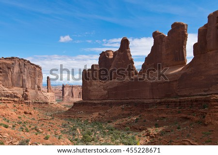 Scenery with Rock Formations in Arches in Utah - stock photo