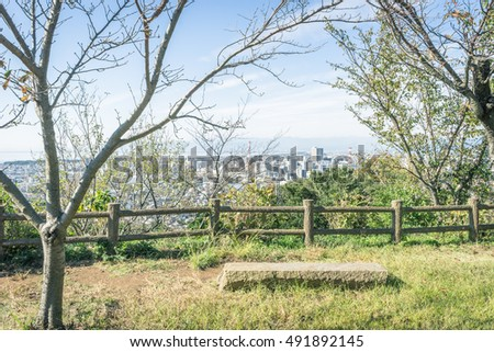 Scenery with the bench / View from Mt. Kanuki