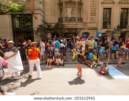 Scenes from the NYC Gay Pride Parade on June 29, 2014 in New York City.