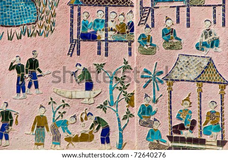 Scenes of Daily Life Depicted Through Mosaic Art on Old Buddhist Temple of Wat Xieng Thong in Luang Prabang, Laos - stock photo