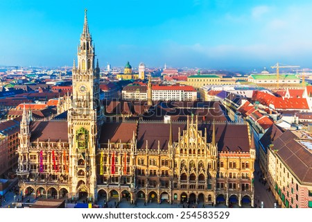 Scenic aerial panorama of the Marienplatz Square with ancient medieval gothic City Hall building architecture in the Old Town of Munich, Bavaria, Germany - stock photo