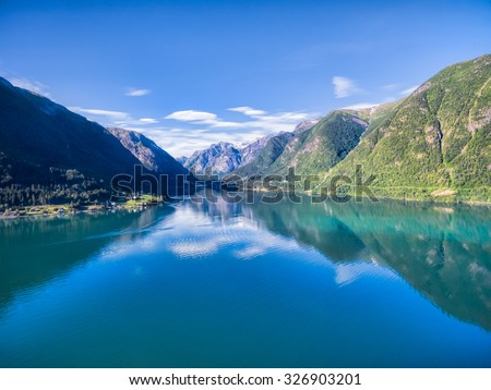 Scenic aerial view of Sognefjorden, one of the most beautiful fjords in Norway - stock photo