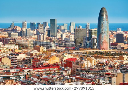 Scenic aerial view of the Agbar Tower in Barcelona in Spain - stock photo