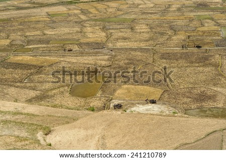 Scenic aerial view of traditional agriculture in Nepal - stock photo