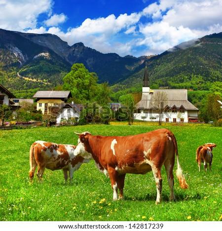 scenic Alpine countryside - stock photo
