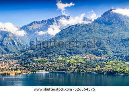Scenic Alpine mountains and Como lake, Italy.