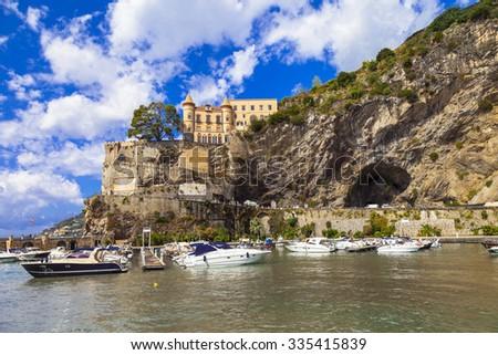 scenic Amalfi coast - Maiori, view with castle. Italy - stock photo