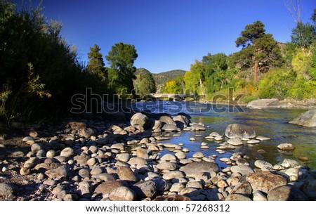 Scenic Arkansas river in Colorado - stock photo