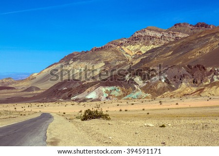Scenic Artist Drive in Death Valley National Park - stock photo