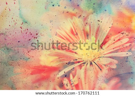 scenic artwork with beautiful flower and watercolor strokes - stock photo