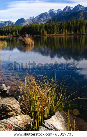 Scenic autumn views of Spray Valley, Peter Lougheed, and Bragg Creek Provincial Parks, in Kananaskis Country Alberta Canada - stock photo