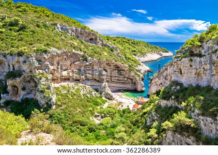 Scenic beach of Croatia on Vis island, Stinva bay - stock photo