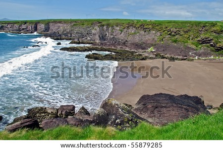 scenic beach on the west coast ireland in kerry, dingle. sandy beach along the coastline of the Atlantic way route.