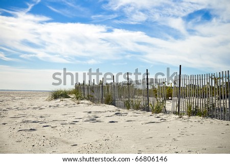Scenic Beach Scene in New Jersey on a Sunny Day - stock photo