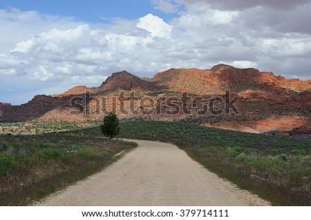 Scenic beautiful dirt road in the south west of America