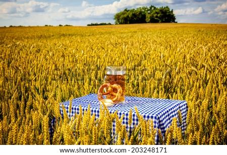 scenic beergarden outdoor corn field  - stock photo